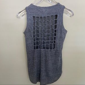 Chaser Tri-Blend Knotted Cut-Out Back Tank Top - S